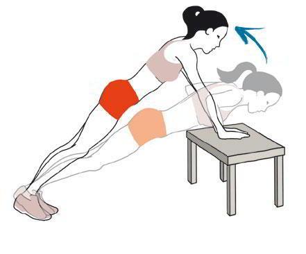 Flexiones de brazos apoyándonos en una mesa: